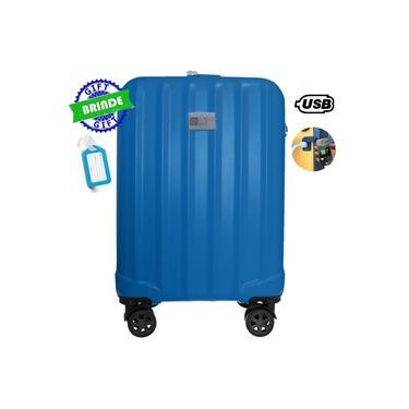 """Imagem de Mala de Bordo Londres 20"""" 55x35x25cm Rígida 360º Azul Com USB Suporta 10kg"""
