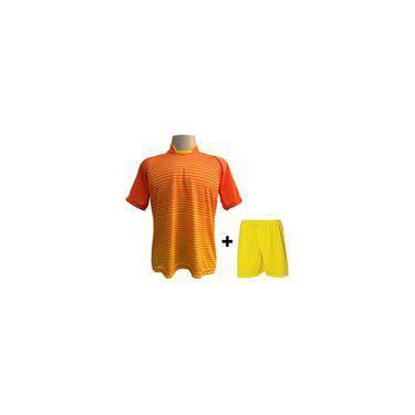 1d5012f61f1ba Uniforme Esportivo Com 12 Camisas Modelo City Laranja amarelo + 12 Calções  Modelo Madrid Amarelo