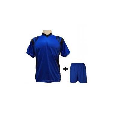 a4cce91ae4 Uniforme Esportivo com 18 camisas modelo Roma Royal Preto + 18 calções  modelo Madrid +