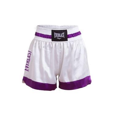 Shorts Muay Thai Branco com Roxo EF10108A Everlast