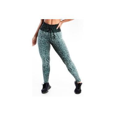 Imagem de Calça Legging Com Cadarço Fake Feminino Preta e Estampada GR Esporte