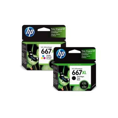 Kit de cartuchos originais HP 667 XL color + black