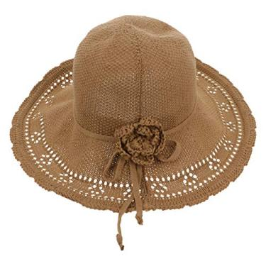 VALICLUD Chapéu de palha de flor chapéu de praia flexível aba larga chapéu de verão embalável chapéu de praia feminino chapéu de sol para uso externo cáqui
