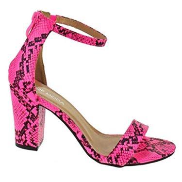 Top Moda sandália feminina Hannah com bico aberto casual tira no tornozelo, Neon Pink Snake, 6.5