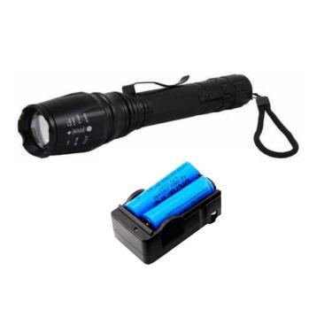 Lanterna Led Longo Alcance T6 Ultra Forte Militar Tática 2 Baterias B8477