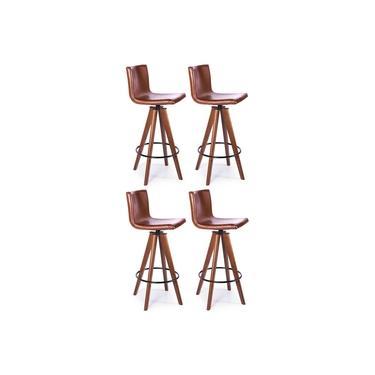 Kit 4 Banquetas alta Lorena giratória em madeira imbuia assento em sintético Marrom