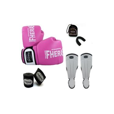 Kit Boxe Muay Thai Orion -Luva Bandagem Bucal Caneleira Anatômica- Rosa/Branco
