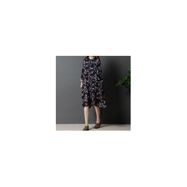 Novo vestido feminino vintage com estampa floral fresca com decote em O de manga comprida casual solto para meninas vestido boho azul escuro