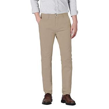 Calça masculina Plaid&Plain Slim Fit Khaki Calça masculina afunilada Chino, Castanho-acinzentado (caimento justo), 29W x 32L