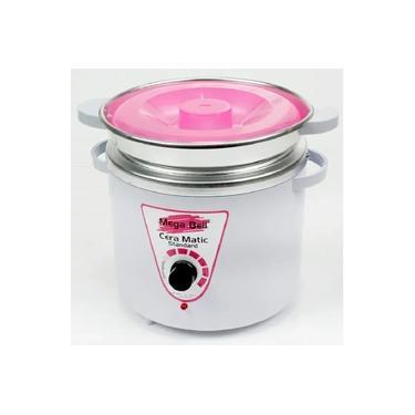 Panela Termocera para depilação Standard 900g Bivolt Com Refil Branca Com Rosa