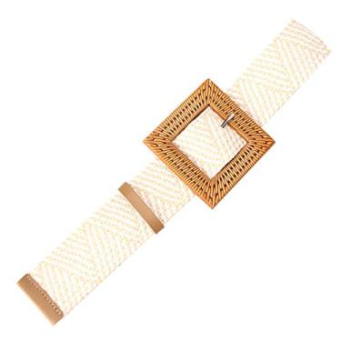 Romacci Cinto feminino de tecido de palha com fivela trançada na cintura, Fivela cáqui e branco-quadrado, tamanho �nico