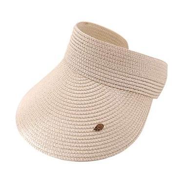 IMIKEYA Chapéu de palha de beisebol chapéu de praia chapéu de praia para mulheres com sombra no verão bege