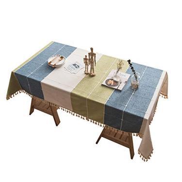 Imagem de MuYiYi11 Toalha de mesa xadrez com borla, capa de mesa para cozinha, sala de jantar, retangular/oblongo, 140 cm x 200 cm, 4-6 assentos nº 2