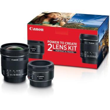 Lente para Câmera Fotográfica Canon Portrait & Travel 2 Kit with 50mm f/1.8 and 10-18mm f/4.5-5.6 es