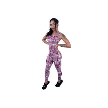 Macacão Longo Feminino Suplex Estampado Fitness Academia Mvb Modas