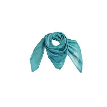 Lenço Em Poliéster Acetinado Azul Turquesa Floral 100X100Cm