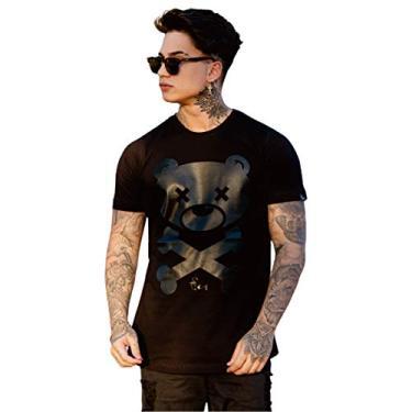 camisetas longline blusas masculinas oversized camisa urso swag (G)