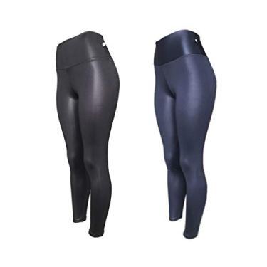 Imagem de Kit 2 Legging Cirre Plus Size Cintura Alta Brilho Molhado Imita Couro Lycra PRETO-AZUL G2