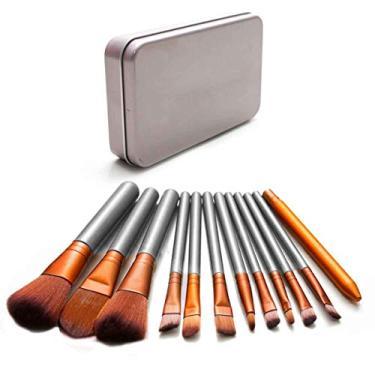 Imagem de Kit 12 Pinceis Estojo Profissional Maquiagem Brush Sombra