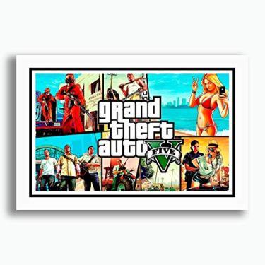 Quadro Gta 5 Game Acao Serie Playstation Decoracao Sala Jogo Quarto Sala Copa Cozinha Loja Escritorio Pronto para Pendurar