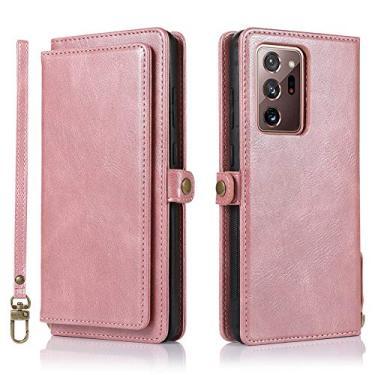 Hicaseer Capa para Galaxy Note 20 Ultra, capa protetora de couro PU com compartimento para vários cartões com botão magnético removível capa para Samsung Galaxy Note 20 Ultra 7,9 polegadas - ouro rosa