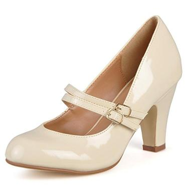 Sapato feminino de couro sintético com patente Mary Jane da Journee Collection, Beige Patent Mary Jane, 8.5
