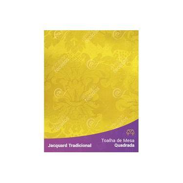 Imagem de Toalha De Mesa Quadrada Em Tecido Jacquard Amarelo Ouro Medalhão Tradicional