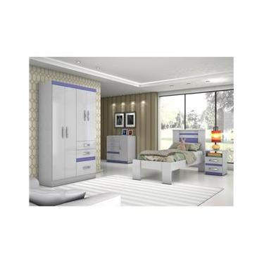 Dormitório Solteiro com Guarda Roupa, Cômoda, Cama e Mesa de Cabeceira - Moval C33 Branco/Azul