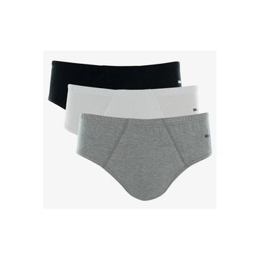 Kit 3 Cuecas Slip Masculina 010.20 Mash - Cinza/branco/preto
