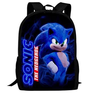 Imagem de Mochila Fashion Sonic-The-Hedgehog resistente à água Mochila escolar para meninos e meninas, Preto, ONE_SIZE