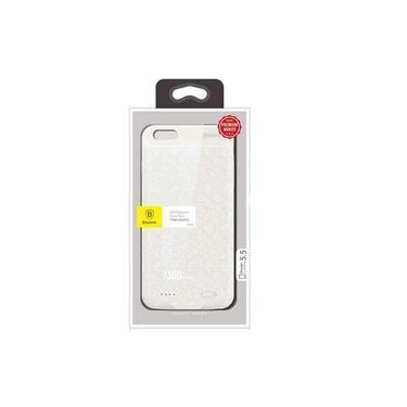 Capa Carregadora Power Bank iPhone 6s Plus 6 Plus Tela 5.5 Baseus 7300mah Branco 3 Cargas Completas