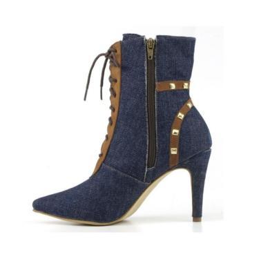 Bota Cano Médio Bico Fino Em Jeans Azul  feminino