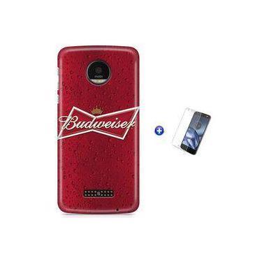 Kit Capa Case TPU Moto Z Play - Budweiser Beer + Pel Vidro (BD30)