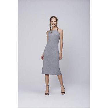 Vestido Fenda Lateral Feminino Tam: M/Cor: CINZA CLARO