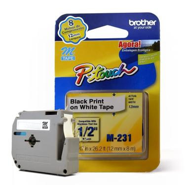 Fita para Rotulador Brother M-231 Preto Sobre Branco 12mm