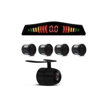 Kit Sensor de Estacionamento 4 Pontos Preto Display Led + Câmera de Ré Colorida