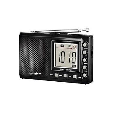 Som Portátil Mondial RP-03 Rádio AM FM SW Multi Band Rrelógio e Alarme Preto