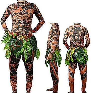 Imagem de Ruewey Fantasia de Halloween para adultos, cosplay, fantasia de Moana Maui, conjunto de camisetas e saias de folhas, Brown Baby, 11-12 T