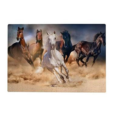 Imagem de ColourLife Quebra-cabeças quebra-cabeça presente de arte para adultos, adolescentes, cavalos de corrida, jogos de quebra-cabeça de madeira, 300/500/1000 peças, multicolorido