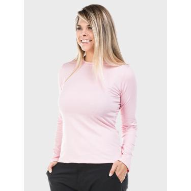 Camiseta Feminina Térmica Para Frio Com Proteção Solar Manga Longa Extreme Uv Rosa - Gg
