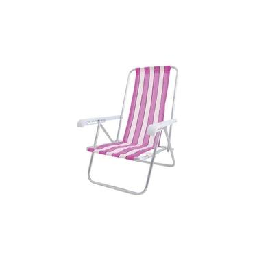 Cadeira Praia Reclinável 4 Posições Cad0641 Botafogo Rosa