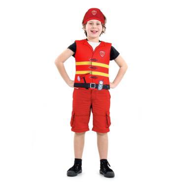 Imagem de Fantasia Bombeiro Infantil Kit Peitoral e Chapéu