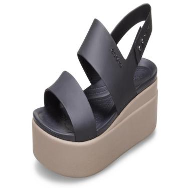 Sandália Crocs Brooklyn Low Wedge W Preto/Bege  feminino