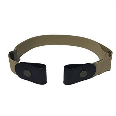 LDGG Cinto elástico sem fivela, cinto invisível elástico, cinto de barra de metal deslizante ajustável para mulheres e homens, Caqui, M