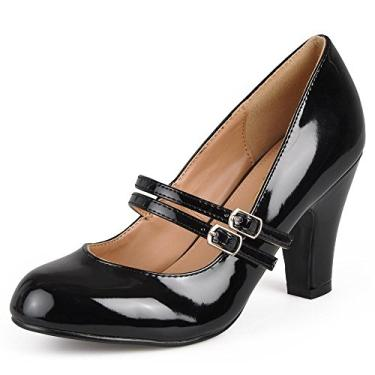 Sapato feminino de couro sintético com patente Mary Jane da Journee Collection, Black Patent Mary Jane, 6.5