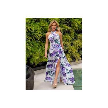 Vestido Miss Misses Floral com Decote Transpassado Lilás