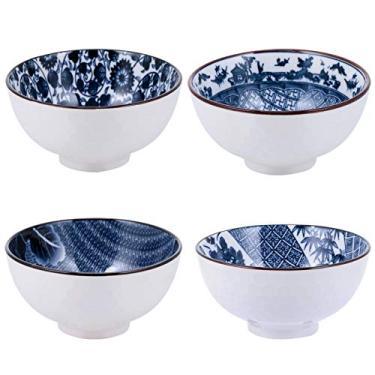 DOITOOL 4PCS Japonês Cerâmica Conjunto Tigela de Arroz Chinês Azul E Branco Da Porcelana Tigelas De Cereal Salada Sopa Ramen Bowls Para Cereais Macarrão de Arroz Sobremesa Tigela