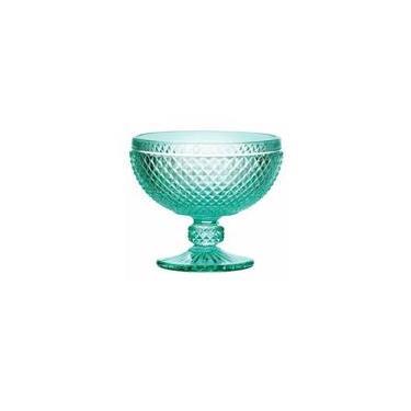 Jogo de Taças para Sobremesa em Vidro Azul Turquesa 6 Peças Bico de Jaca 300ml