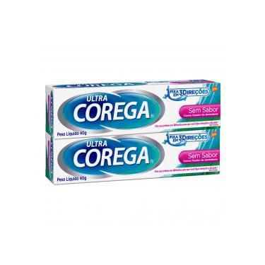 Kit 2x40g Corega Ultra Creme Fixador Dentaduras S/ Sabor 12H