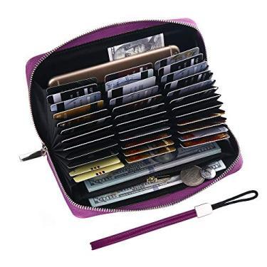 Buvelife Carteira feminina de couro para cartão de crédito com RFID, grande capacidade de armazenamento, Roxo - atualizado, Accordion